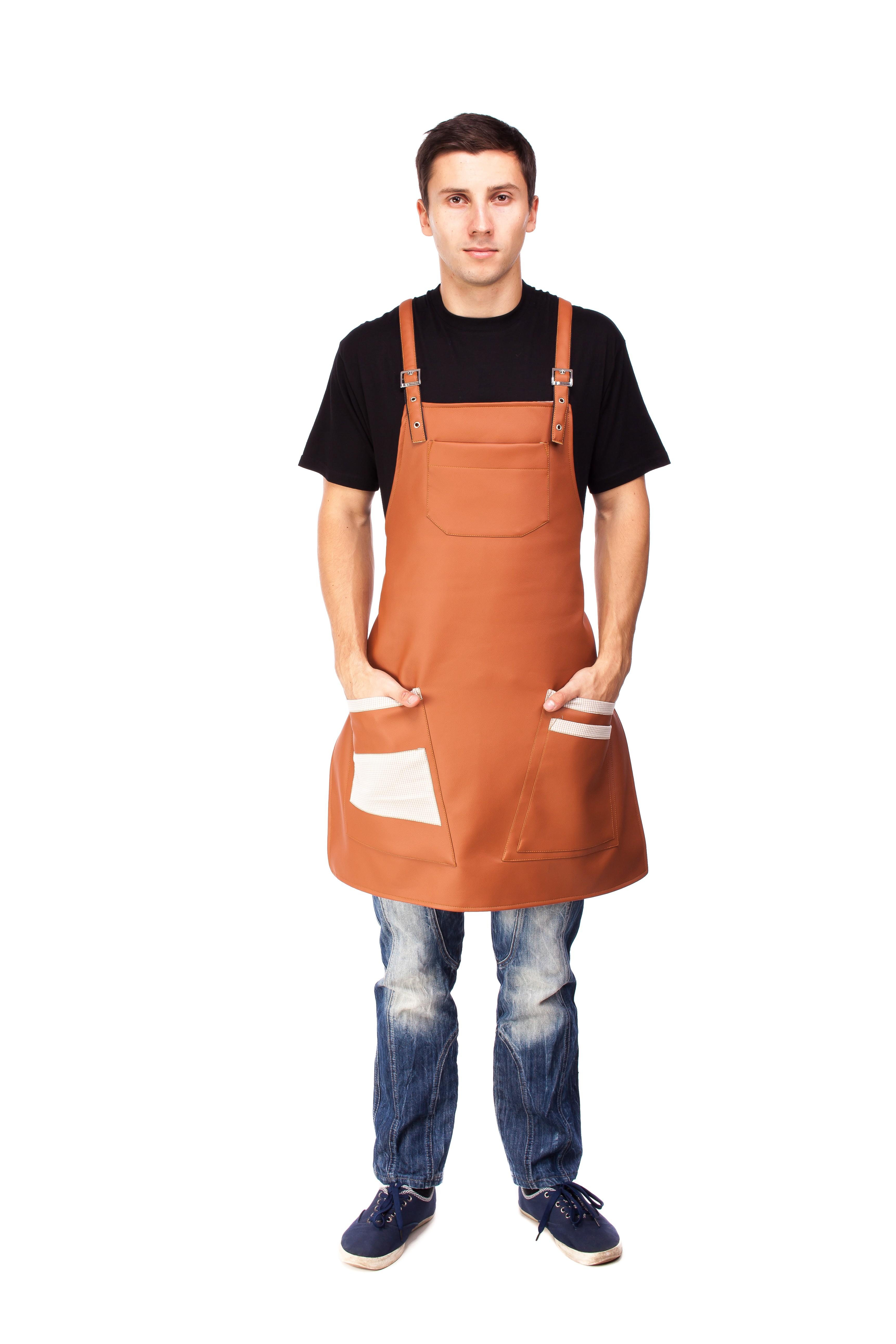 16857 Фартух для бармена, офіціанта, кухаря з якісного шкірзамінника на тканинній підкладці