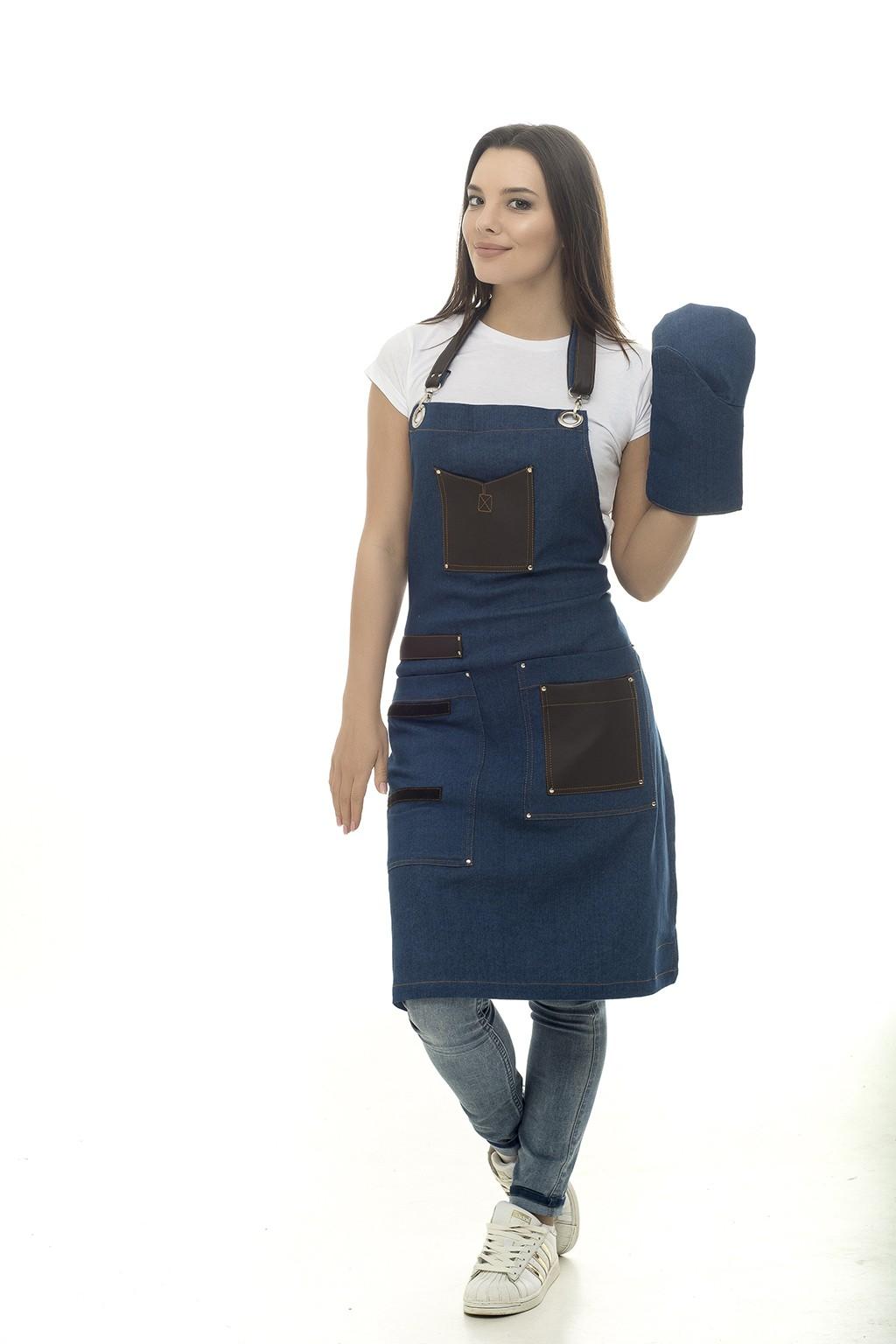 1782 Фартук джинсовый с рукавицей