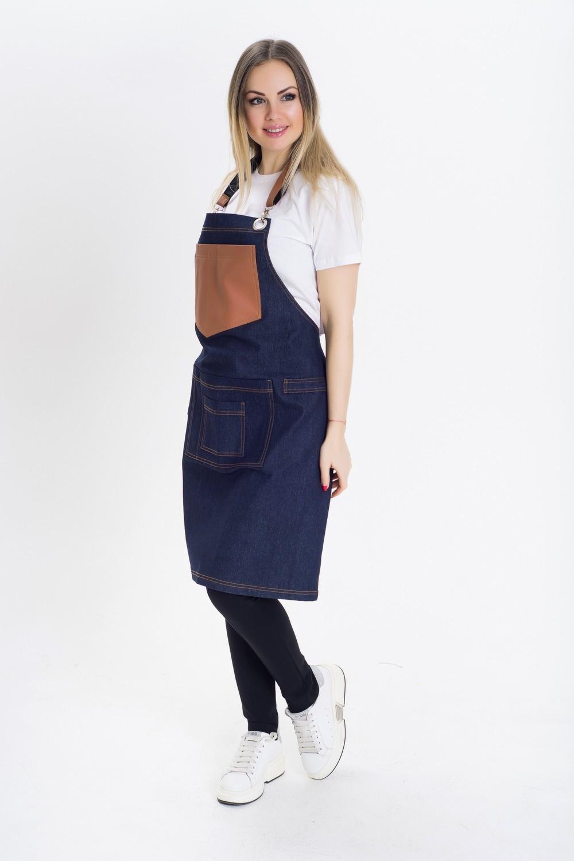 1780 Фартух джинсовий для офіціанта, бармена, кухаря