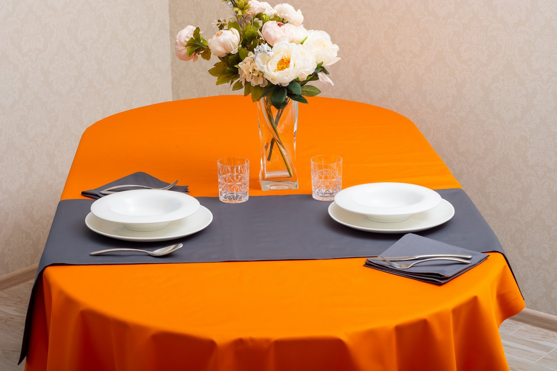 Скатерть — тефлон оранжевый, дорожка — тефлон серый
